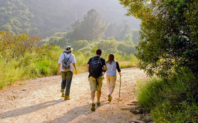 Group of three people hiking