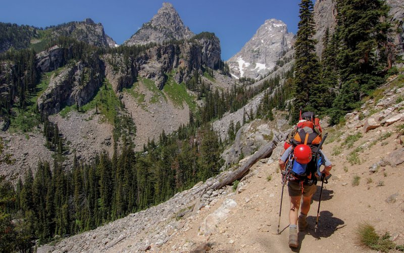 Mountain climbers on their way to Grand Teton, WY